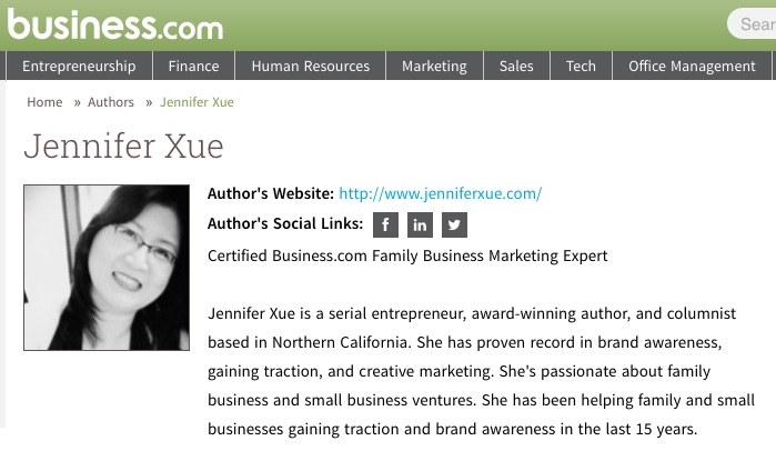 Jennifer Xue Column on Business.com
