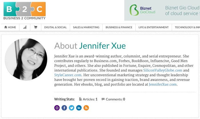 Jennifer Xue Column on Business2Community.com