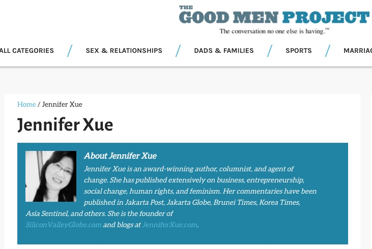 Jennifer Xue Column on Good Men Project