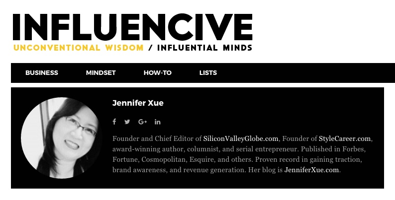 Jennifer Xue Column on Influencive